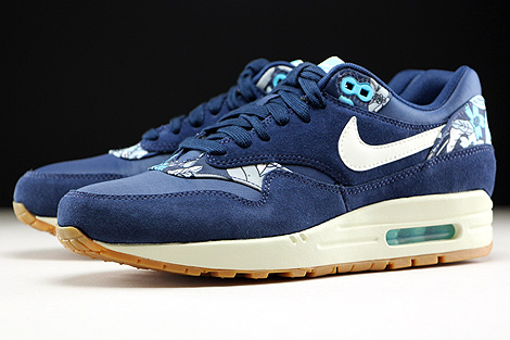 Nike WMNS Air Max 1 Print Midnight Navy Sail Tide Pool Blue Sidedetails