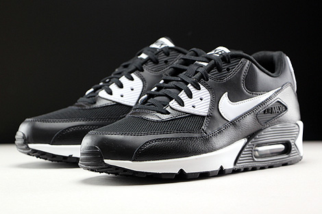 classic fit cf729 166f5 ... Nike WMNS Air Max 90 Essential Black White Metallic Silver Sidedetails  ...