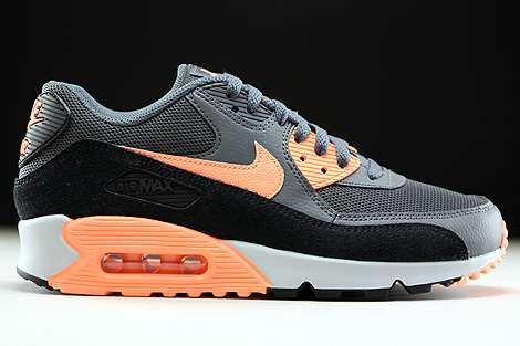 Nike WMNS Air Max 90 Essential Dunkelgrau Orange Schwarz Hellgrau