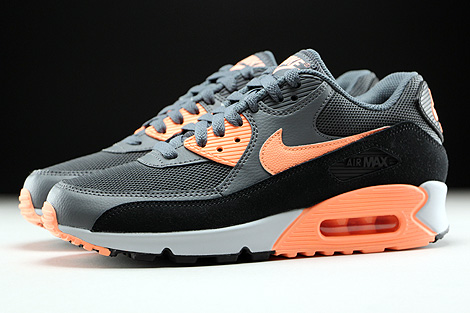 Nike WMNS Air Max 90 Essential Dark Grey Sunset Glow Black Pure Platinum Profile