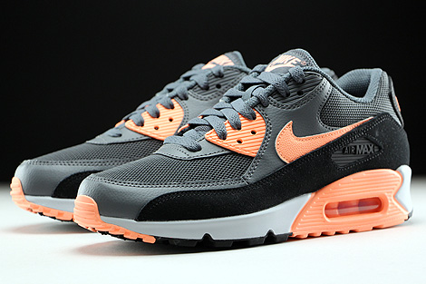 Nike WMNS Air Max 90 Essential Dark Grey Sunset Glow Black Pure Platinum Sidedetails