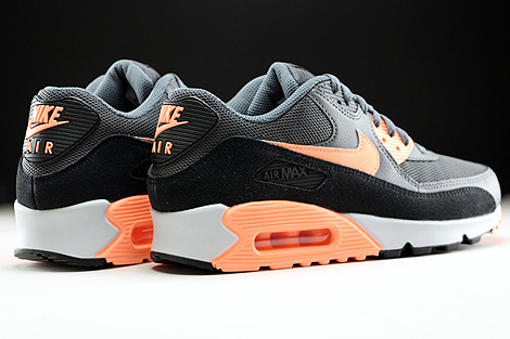 Nike WMNS Air Max 90 Essential Dark Grey Sunset Glow Black Pure Platinum Back view
