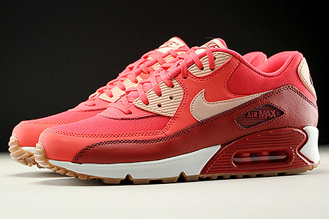 Nike WMNS Air Max 90 Essential Rot Orange Rose Weiss Seitenansicht
