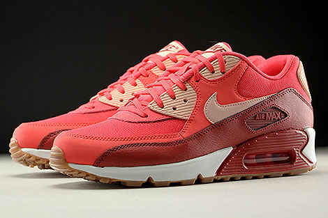 Nike WMNS Air Max 90 Essential Rot Orange Rose Weiss Seitendetail