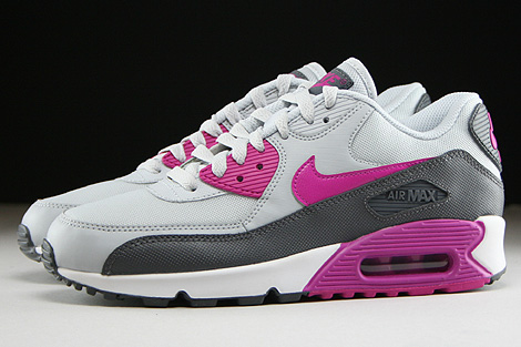 Nike WMNS Air Max 90 Essential Pure Platinum Fuchsia Flash Dark Grey White Profile