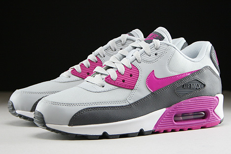 Nike WMNS Air Max 90 Essential Pure Platinum Fuchsia Flash Dark Grey White Sidedetails