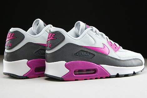 Nike WMNS Air Max 90 Essential Pure Platinum Fuchsia Flash Dark Grey White Back view
