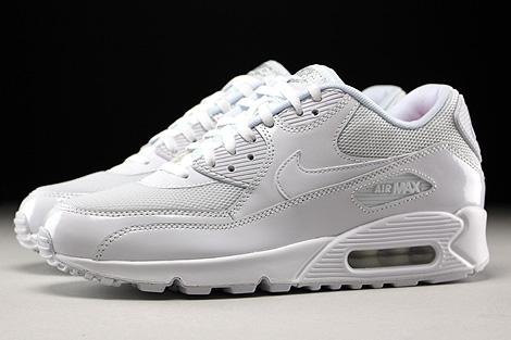 Nike WMNS Air Max 90 Premium White White Metallic Silver Profile