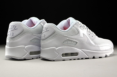 Nike WMNS Air Max 90 Premium White White Metallic Silver Back view