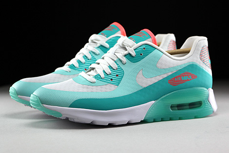 Nike WMNS Air Max 90 Ultra Breeze Weiss Tuerkis Orange Seitenansicht