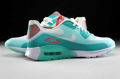 Nike WMNS Air Max 90 Ultra Breeze Weiss Tuerkis Orange Innenseite