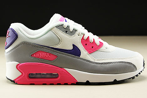 Nike WMNS Air Max 90 White Court Purple Wolf Grey Laser Pink Right