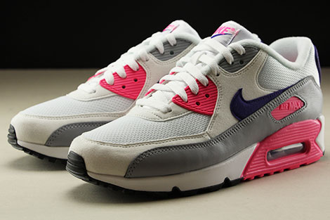 Nike WMNS Air Max 90 White Court Purple Wolf Grey Laser Pink Seitendetail