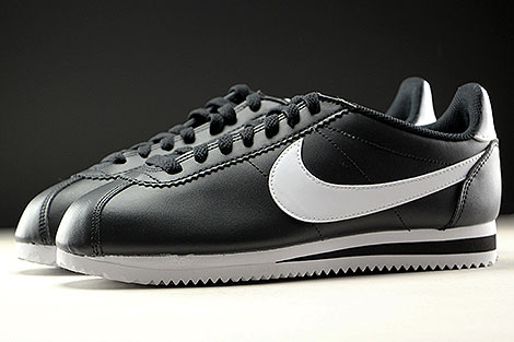 Nike WMNS Classic Cortez Leather Black White Profile
