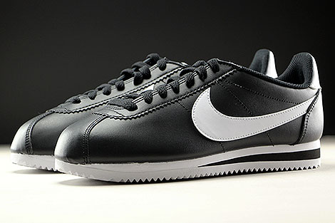 Nike WMNS Classic Cortez Leather Black White Sidedetails