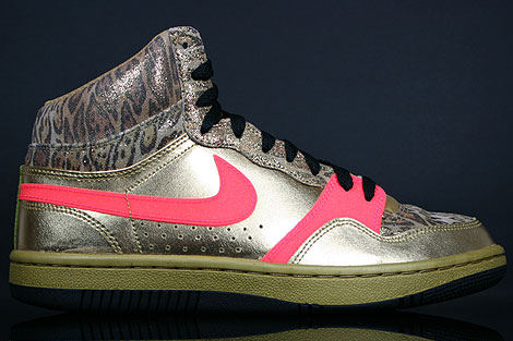 Nike WMNS Court Force Hi Metallic Gold Solar Red Black