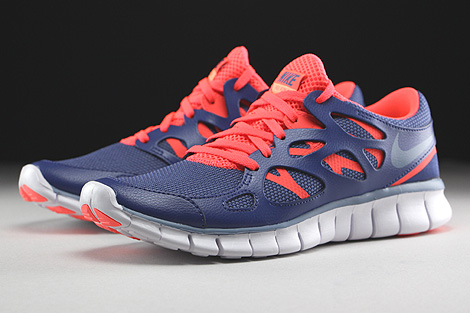 Nike WMNS Free Run 2 EXT Blue Legend Cool Blue Hot Lava White Sidedetails