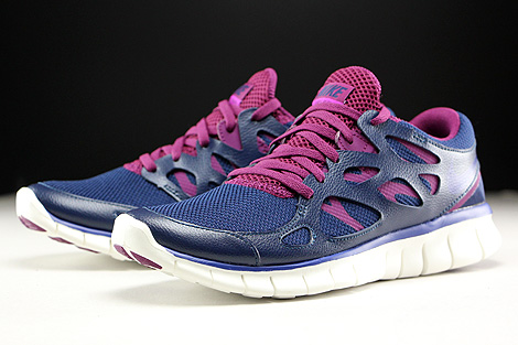 Nike WMNS Free Run 2 EXT Midnight Navy Deep Royal Blue Mulberry Purple Sidedetails