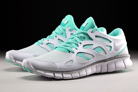 Nike WMNS Free Run 2 EXT White Wolf Grey Artisan Teal White Sidedetails