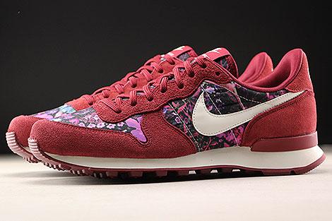 Nike WMNS Internationalist Premium Dunkelrot Floral Seitenansicht