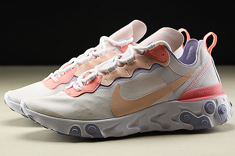 Nike WMNS React Element 55 Pale Pink Washed Coral Profile