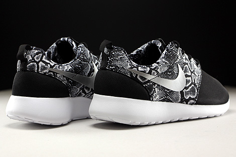 Nike WMNS Roshe One Print Black Metallic Silver White Back view