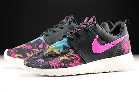 Nike WMNS Roshe One Print Schwarz Pink Tuerkis Creme Seitendetail
