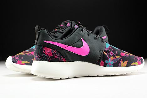 Nike WMNS Roshe One Print Schwarz Pink Tuerkis Creme Innenseite