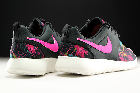 Nike WMNS Roshe One Print Black Pink Foil Sail Back view