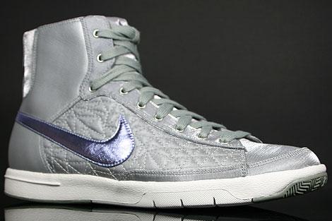 Nike WMNS Blazer Mid Grau Lila Weiss Seitendetail