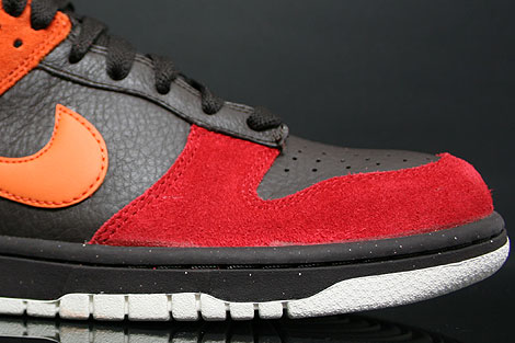 Nike Dunk Low CL Teer Orange Rot Seitendetail