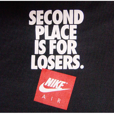 Nike Second Place is for Losers Tee Black Innenseite